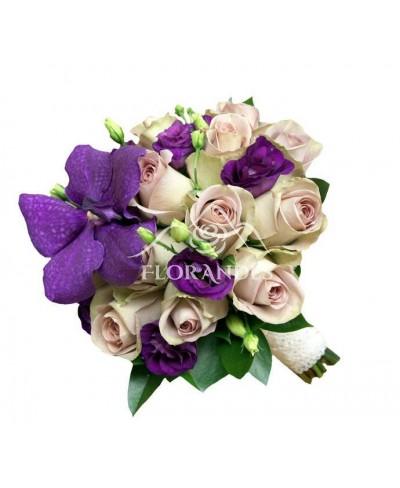 Buchet mireasa trandafiri mov si orhidee