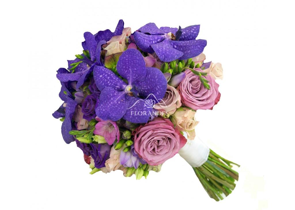 Buchet Mireasa Trandafiri Mov Si Orhidee Vanda Flordelosandesro