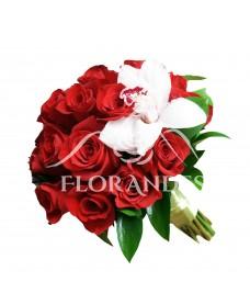 Buchet mireasa trandafiri rosii si orhidee cymbidium