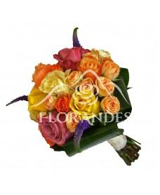Buchet mireasa trandafiri si veronica