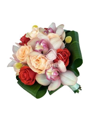 Buchet mireasa trandafiri somon