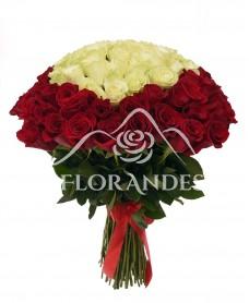 Buchet 101 trandafiri rosii si albi