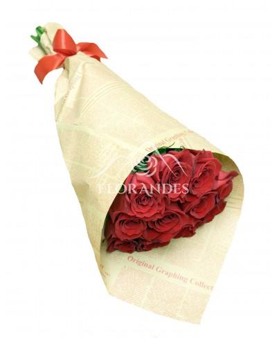 Buchet 11 trandafiri rosii Freedom