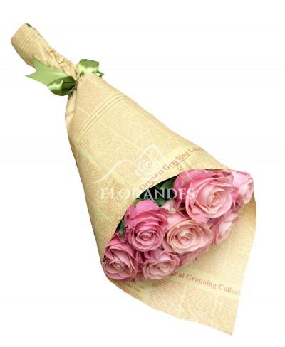 Buchet 11 trandafiri roz