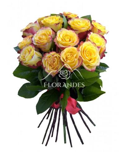Buchet 15 trandafiri bicolori