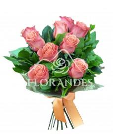 Buchet 9 trandafiri portocalii