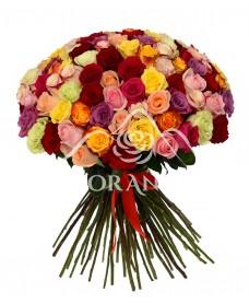 Buchet de 101 trandafiri multicolori