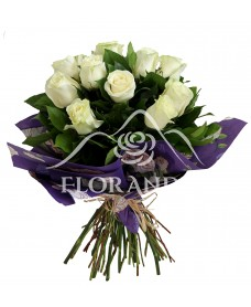 Buchet de 11 trandafiri albi Mondial