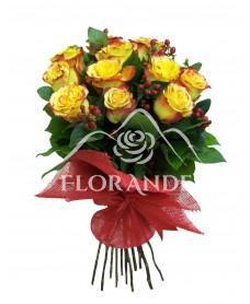 Buchet de 11 trandafiri bicolori