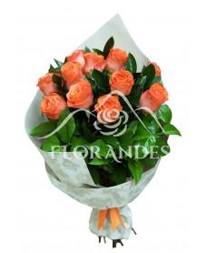 Buchet de 11 trandafiri portocalii