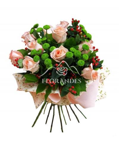 Buchet de 11 trandafiri roz