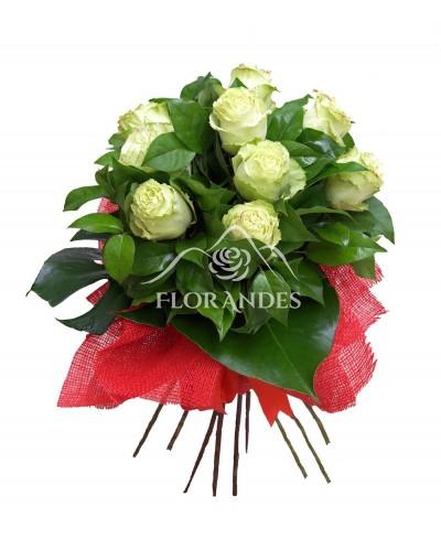 Buchet de 11 trandafiri verzi