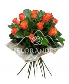Buchet de 15 trandafiri portocalii