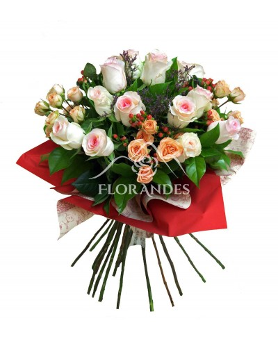 Buchet de 15 trandafiri roz