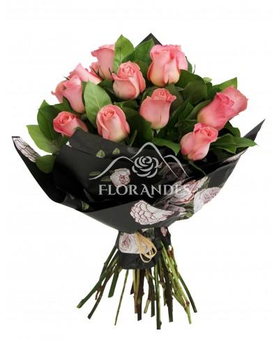 Buchet de 15 trandafiri roz Hermosa