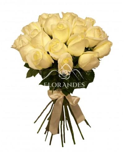 Buchet de 21 trandafiri albi