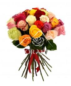 Buchet de 25 trandafiri multicolori
