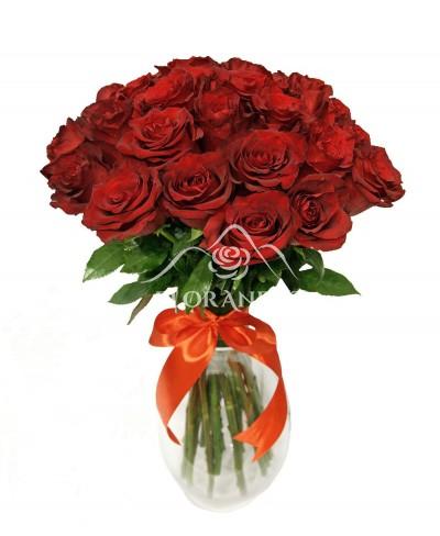 Buchet de 25 trandafiri rosii grena