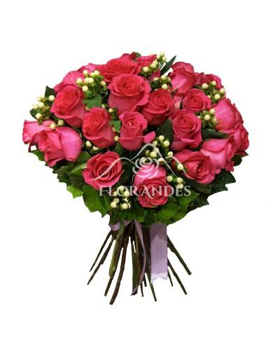 Buchet de 25 trandafiri roz ciclam