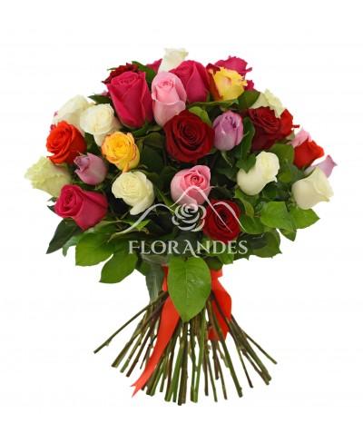 Buchet de 41 trandafiri multicolori