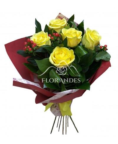 Buchet de 5 trandafiri galbeni