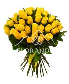 Buchet de 65 trandafiri galbeni