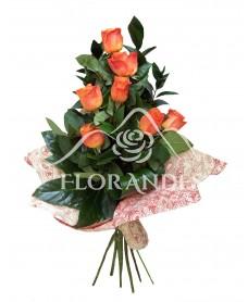 Buchet de 7 trandafiri portocalii