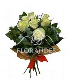 Buchet de 7 trandafiri albi si eucalipt