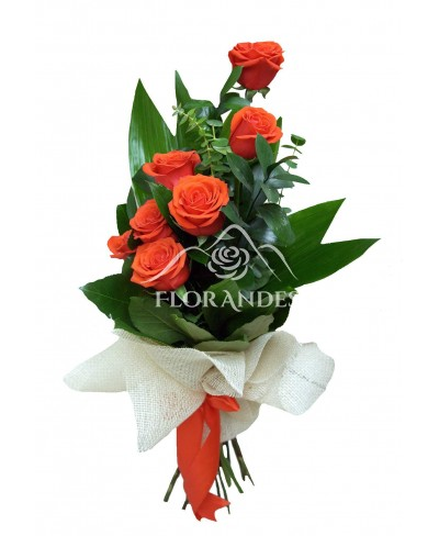 Buchet de 7 trandafiri portocalii Nina