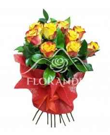 Buchet de 9 trandafiri bicolori