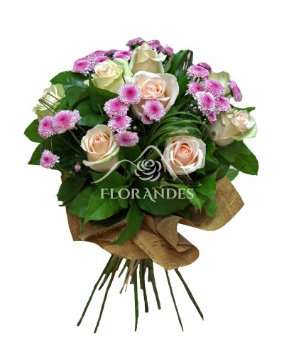 Buchet de 9 trandafiri roz