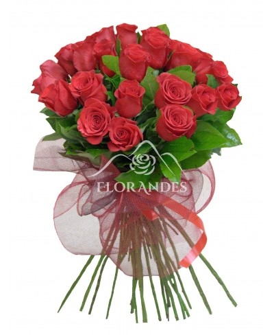 Buchet din 25 trandafiri rosii