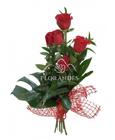 Buchet din 5 trandafiri rosii