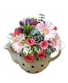 Ceainic minigerbera roz