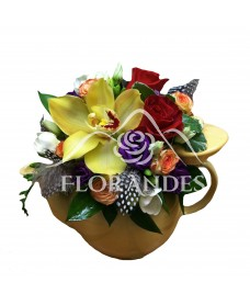 Ceainic orhidee galbena si trandafiri