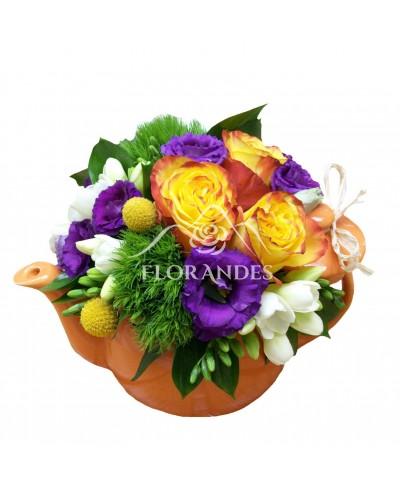 Ceainic trandafiri si lisianthus