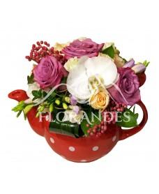Ceainic trandafiri si orhidee alba