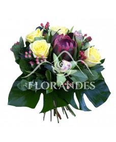 Buchet exotic orhidee si trandafiri