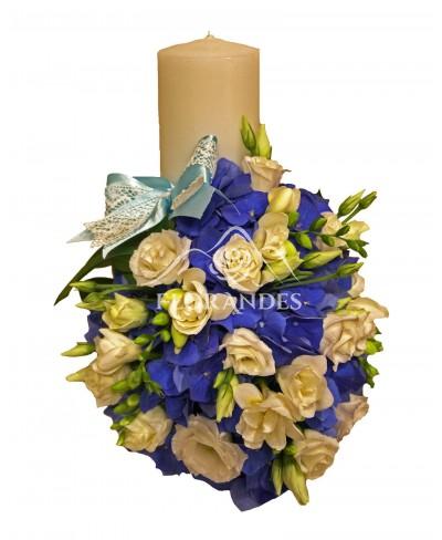 Lumanare botez hortensie albastra
