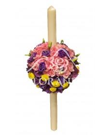 Lumanare botez hortensie roz