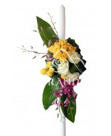 Lumanare botez minitrandafiri si orhidee