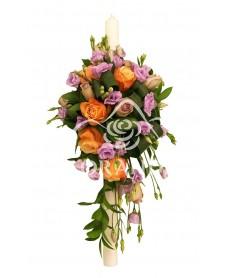 Lumanare botez trandafiri portocalii