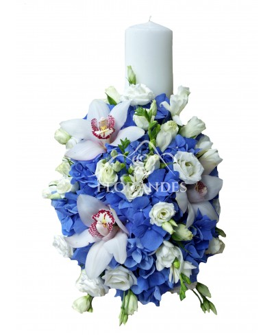 Lumanare de botez cu hortensie albastra