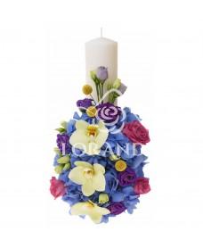 Lumanare de botez cu hortensie si trandafiri