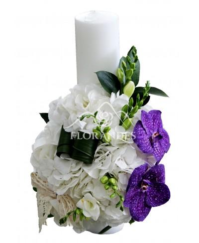 Lumanari de nunta cu hortensie alba