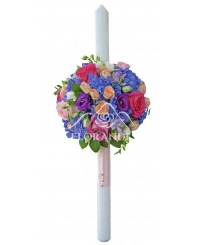Lumanari de nunta cu hortensie albastra