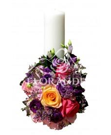 Lumanari de nunta cu hortensie roz