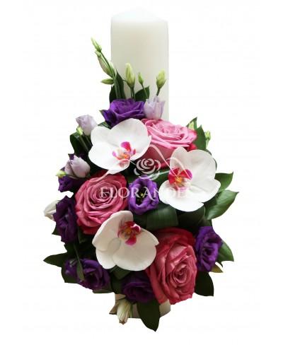 Lumanari de nunta cu orhidee alba