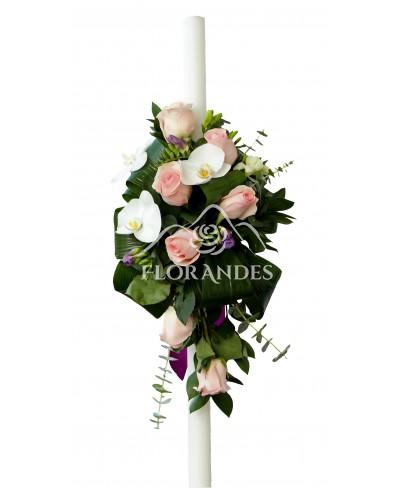 Lumanari de nunta cu orhidee si frezii