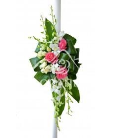 Lumanari de nunta cu orhidee si trandafiri